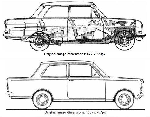 Opel Kadett A blueprint-vert