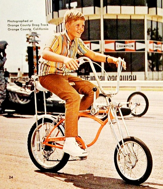 Schwinn Orange Krate catalog page. Note that both the Krate and Chopper ads have dragsters.