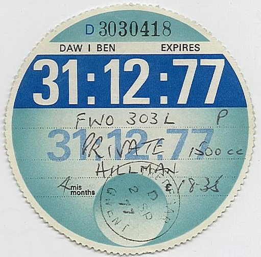 1977 tax disc