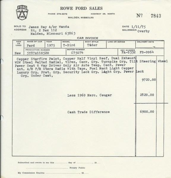 tbird paperwork