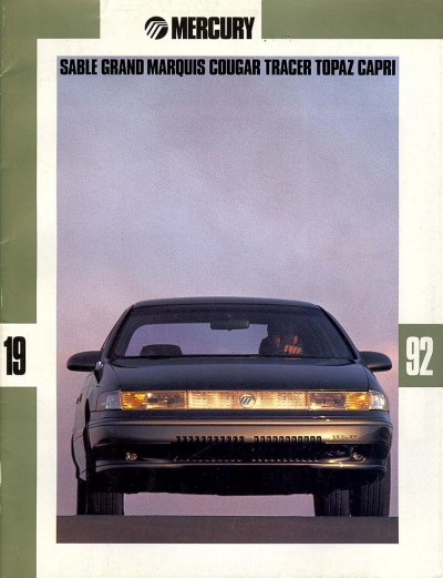 1992 Mercury Lineup Sable Cover