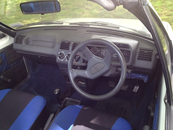 1989 Peugeot 205 CL convertible, white interior
