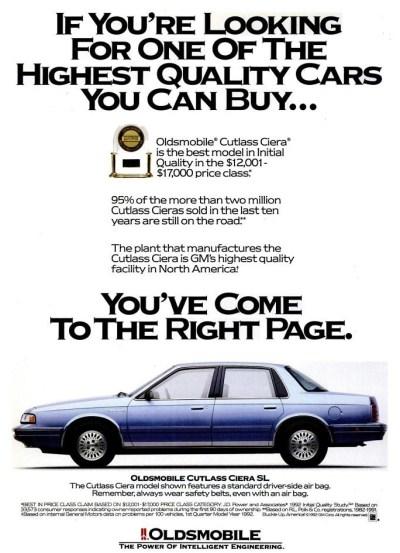 1992 Oldsmobile Cutlass Ad