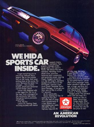 dodge lancer advertisement 1986