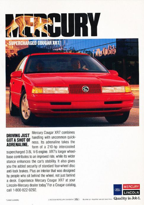1989 mercury cougar xr7 ad 1
