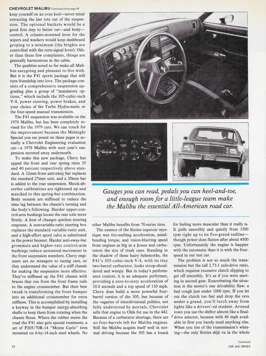 Vintage Review 1978 Chevrolet Malibu Classic Car And Driver Goes Chevy Truck Clutch Linkage Diagram Tuning What Really Made This Shine Was Its Suspension With The Then Legendary F41 Handling Package Option That