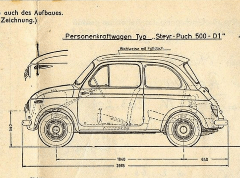 Steyr Puch 500 cross section