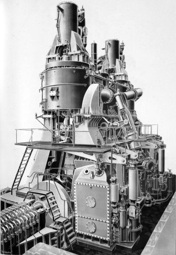 Steam Ship Engine Room: 1906 Cunard Liner RMS Mauretania