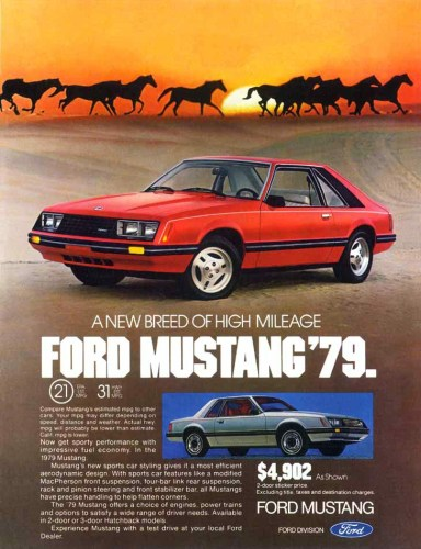 1979 Ford Mustang print ad, property saturated CC