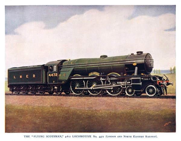 """THE 'FLYING SCOTSMAN' 4-6-2 LOCOMOTIVE No. 4472 (London and North Eastern Railway), from The Wonder Book of Trains, 14th edition"