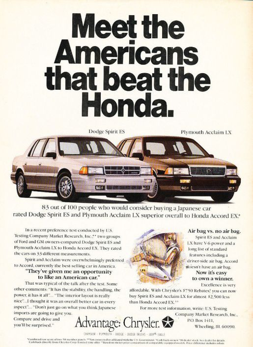 dodge spirit plymouth acclaim 1990