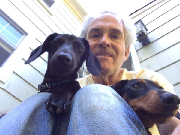 Three Dog Selfie. Marcelo (left), Benny (right), and me (middle).