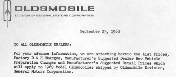 Olds 1969 dealer discount crop