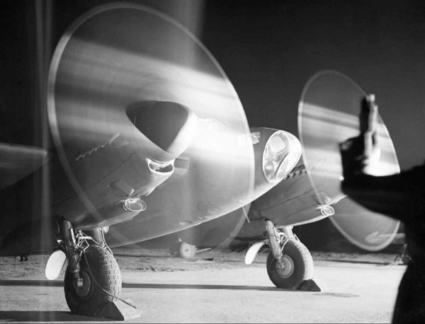 A De Havilland Mosquito PR Mark XVI of No. 140 Squadron RAF, warms up its engines in a dispersal at B58/Melsbroek, Belgium, before taking off on a night photographic-reconnaissance sortie. A de Havilland Mosquito PR Mk XVI of No. 140 Squadron RAF warms up its engines at Melsbroek in Belgium, before taking off on a night photographic reconnaissance sortie, 15 February 1945. C 4995 Part of AIR MINISTRY SECOND WORLD WAR OFFICIAL COLLECTION Royal Air Force official photographer Broom RR (Plt Off), & Wilson J G (Plt Off)