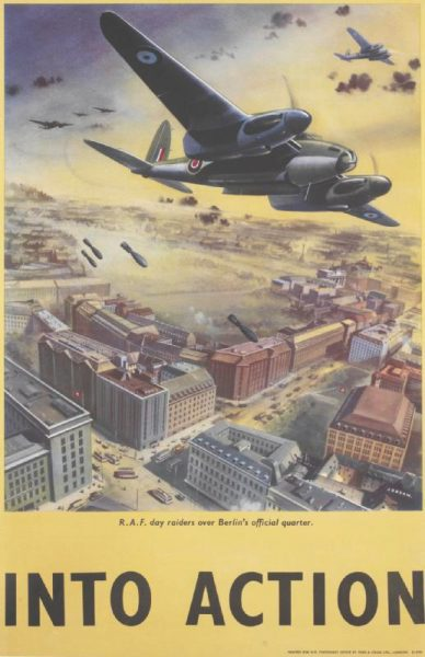 whole: the image is positioned in the upper three-quarters. The title and text are separate and placed in the lower quarter, in black. All set against a yellow background. image: a depiction of a RAF De Havilland Mosquito bomber aircraft dropping bombs on Berlin. Other British bombers are visible in the background. Buses, trams and cars fill the streets below, between buildings flying Nazi flags. text: JOBSON. R.A.F. day raiders over Berlin's official quarter. INTO ACTION PRINTED FOR H.M. STATIONERY OFFICE BY FOSH AND CROSS LTD., LONDON. 51-3561 Art.IWM PST 14882 Physical description 51-3561. Part of a series of similar posters with the same title. The same image was used on several different posters (see PST 15024, PST 15025, PST 15026, PST 15027, PST 15028, PST 15029 and PST 15030). Jobson (artist) Fosh and Cross Ltd, London (printer) Her Majesty's Stationery Office (publisher/sponsor) Ministry of Information