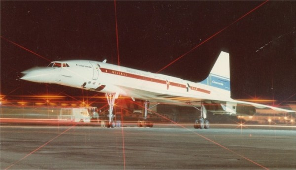Concorde 002 on apron at night