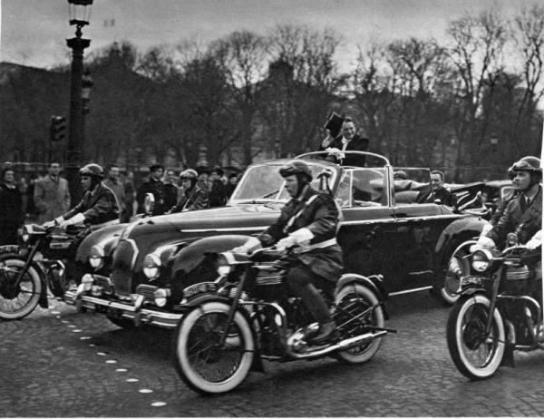 The presidential Talbot being used by Auriol's successor, René Coty, circa 1954. A few stretched T26s ferried various dignitaries, including the king of Saudi Arabia and the bey of Tunis. President Coty preferred the softer Citroën suspension and did not use this Talbot much.