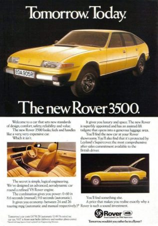 Ad 1977 Rover 3500 UK