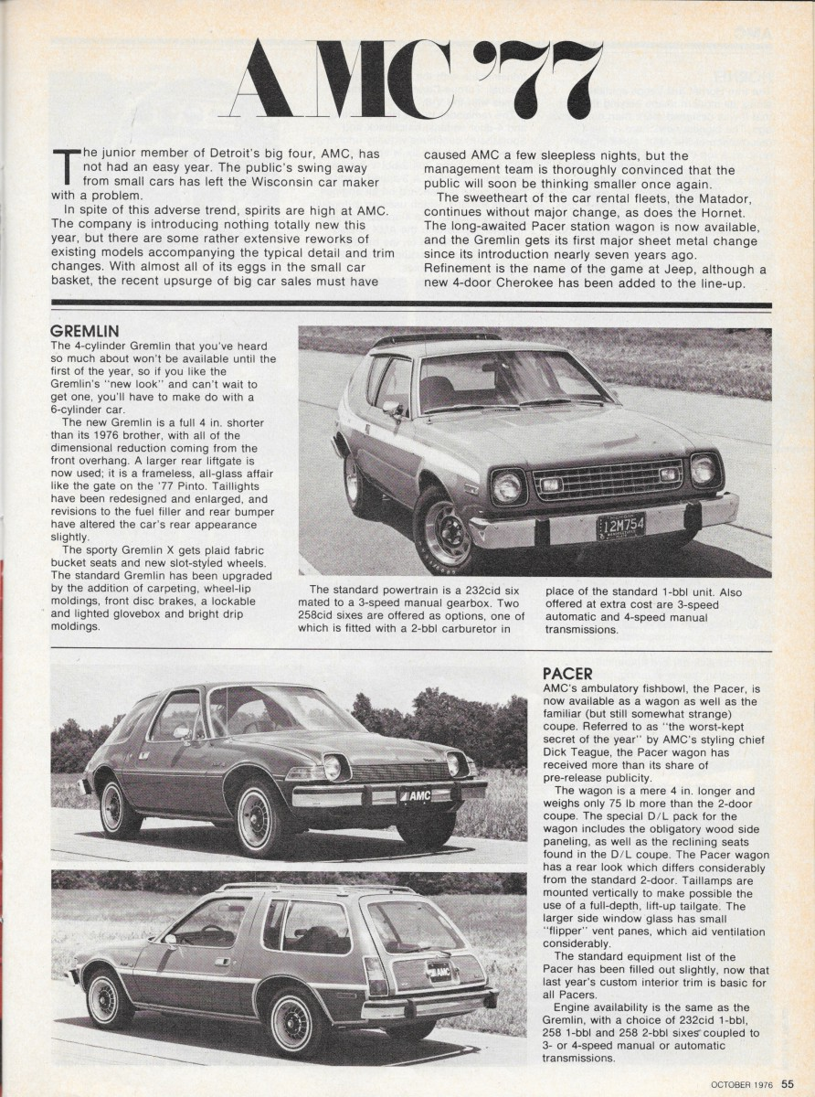 Vintage Reviews: Motor Trend\'s 1977 New Car Issue – AMC and Car ...
