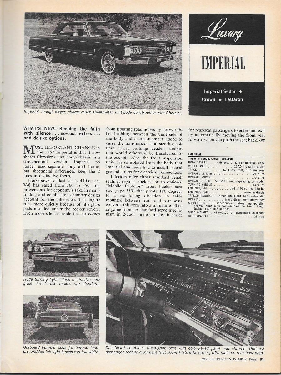 Vintage Reviews: Motor Trend\'s 1967 New Car Issue – Luxury And Full Size