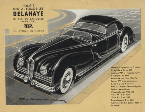 Page from the 1947 Delahaye 180 brochure by Charbonneaux.