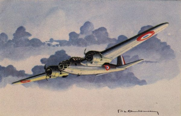 Amiot 350 bomber in French colours – artwork by Charbonneaux.
