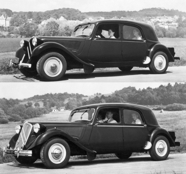 "Citroën 11 B ""normale"" (top) and 15-Six. Same body, same year (1951), different engine."