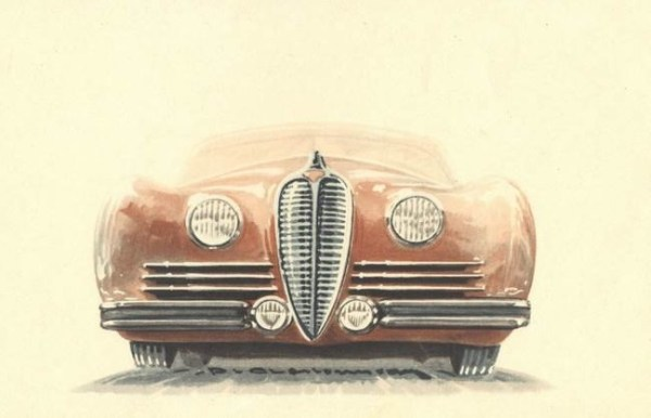 "The new Delahaye's visual identity: vertical ""fencing mask"" grille, inboard headlamps, triple horizontal slits."