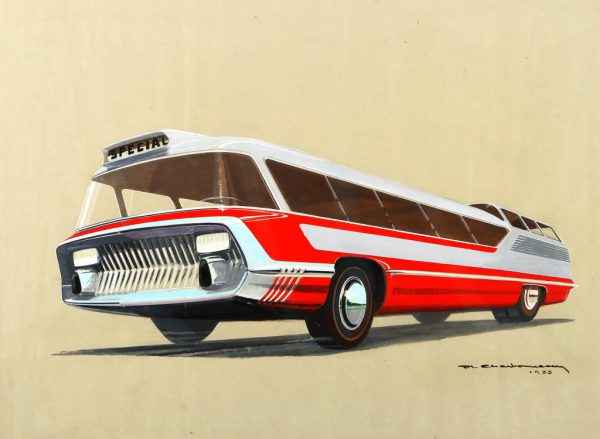 Long-distance bus sketch, 1955.