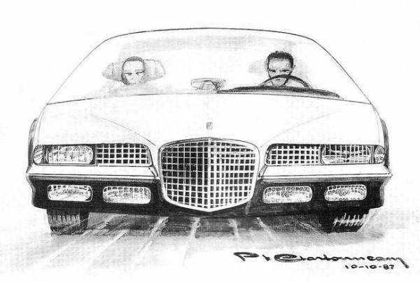 "Sketch of a ""contemporary"" Facel-Vega, made for the marque's owners club. Source: leroux.andre.free.fr/charbonneau.htm"