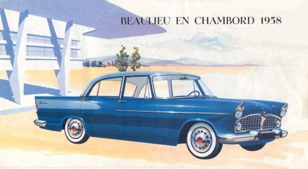 The 1958 Beaulieu, an homage to US style: wraparound windshield, fins, duo-tone, more chrome.