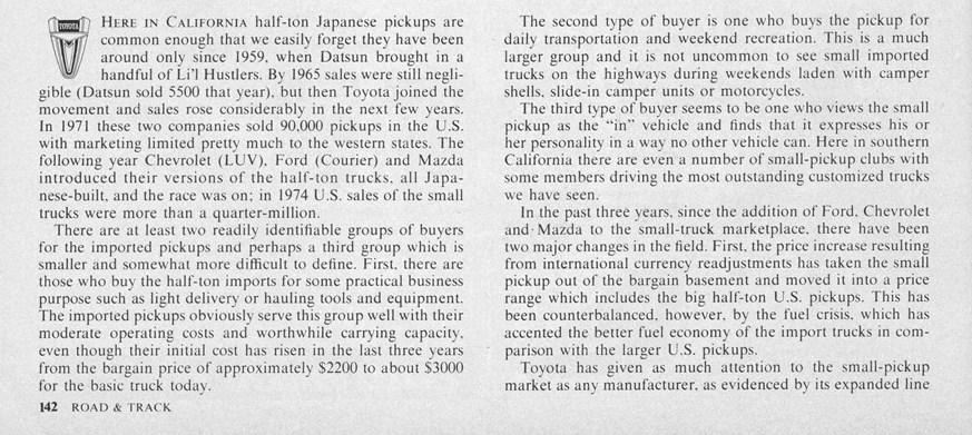 "Vintage R&T Review: 1975 Toyota SR-5 Pickup – ""A Surprising"
