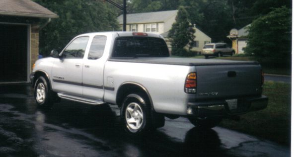 rear view of silver pickup