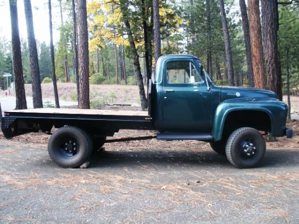 1955 Ford F-350 Dually Fabco 4-wheel-drive conversion, side view. Raised frame and special front axles visible