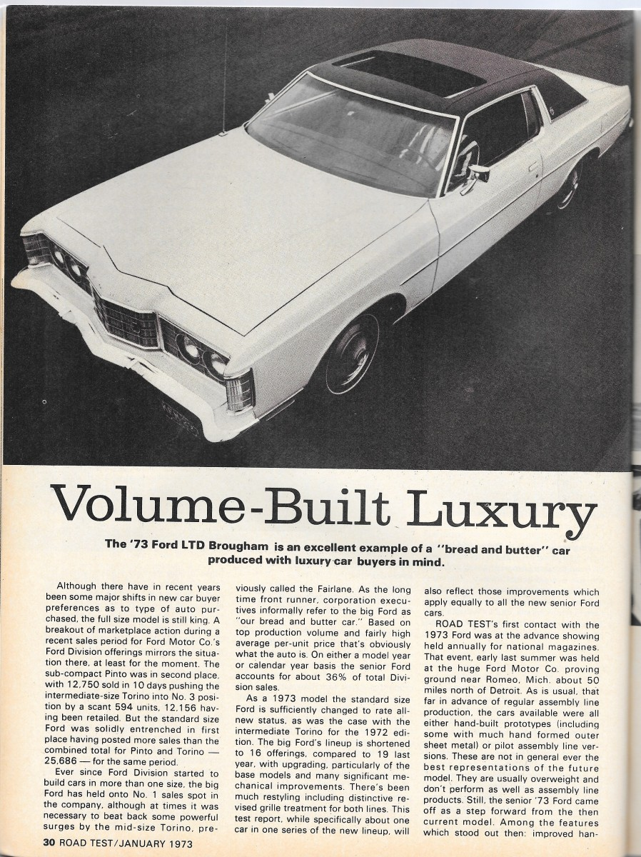 73 Ford Ltd : Vintage, Review:, Paul's, Favorite, Award, Richly, Deserves, Curbside, Classic