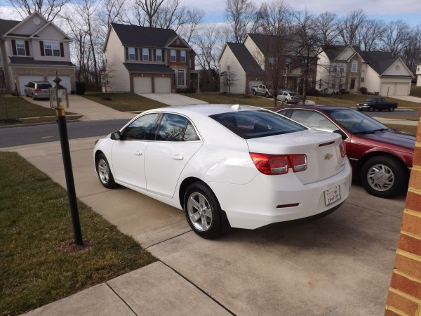Rear view of 2013 Chevy Malibu