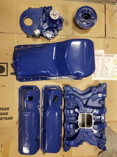 Ford 400 engine parts painted in blue paint