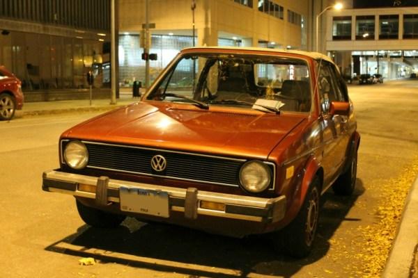 c. 1985 Volkswagen Cabriolet in downtown Des Moines, Iowa, front three-quarter view