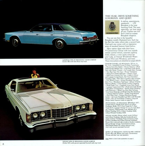 1973 Ford LTD Brougham brochure page is courtesy of www.oldcarbrochures.com.