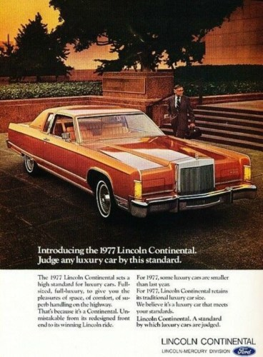 1977 Lincoln Continental Town Coupe print ad