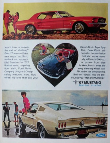 1967 Ford Mustang print ad.