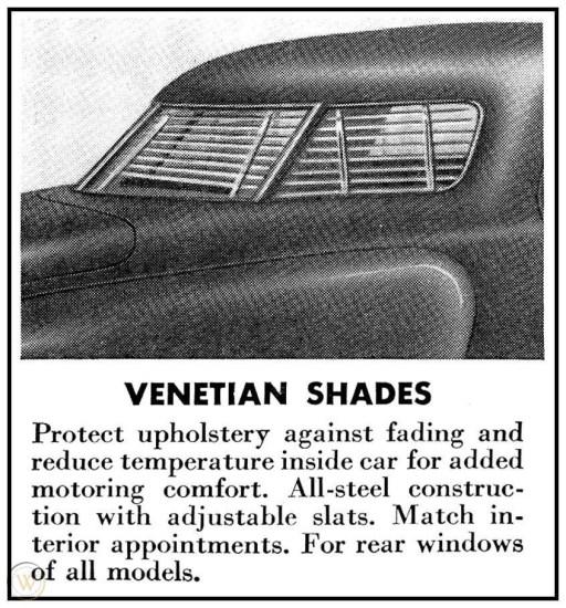Studebaker Accessory Venetian Shades