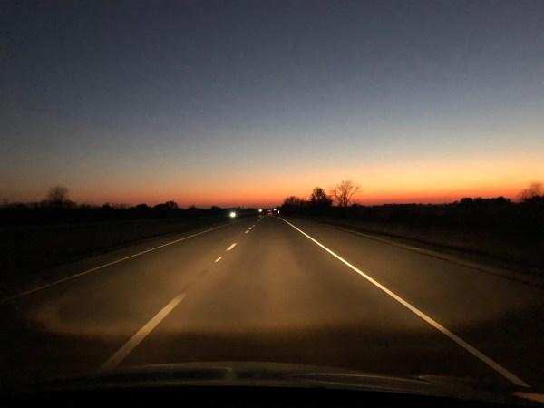 Illinois I-72 West at dusk