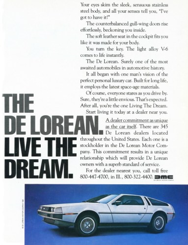 1981 DeLorean DMC-12 print ad as sourced from the internet.