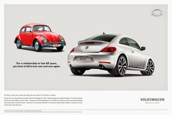 2011 VW Beetle ad from South Africa as sourced from the internet.
