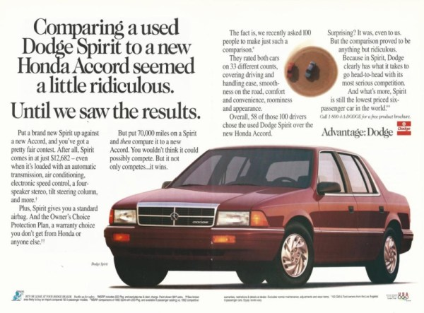 1992 Dodge Spirit print ad, as sourced from the internet
