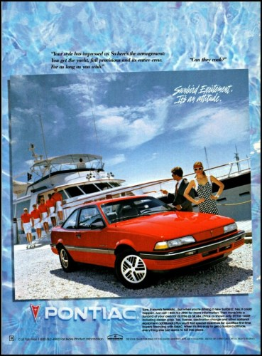 1990 Pontiac Sunbird print ad, as sourced from the internet.