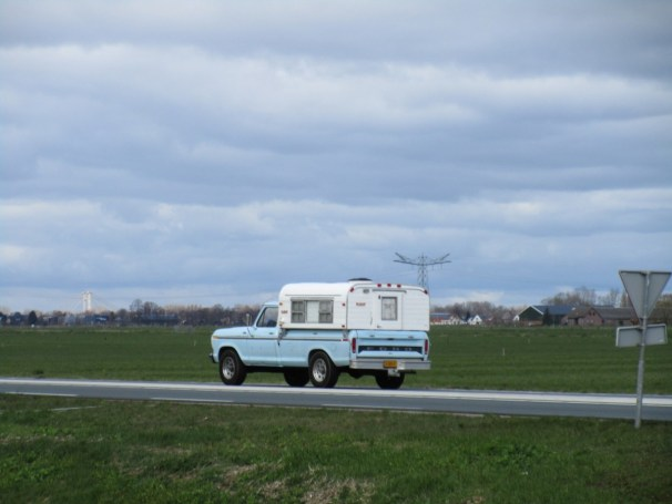 Classic Ford pickup with camper unit