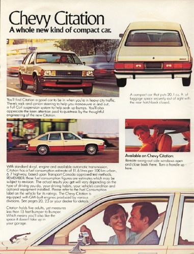 Chevrolet Citation brochure photo, as sourced from www.oldcarbrochures.com