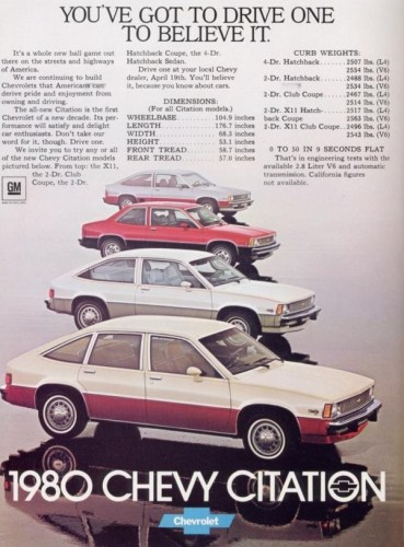 1980 Chevrolet Citation print ad, as sourced from www.oldcarbrochures.com